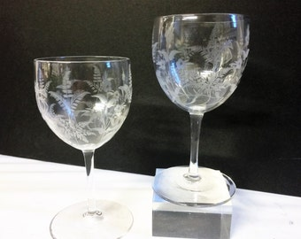 Beautiful RARE Pair of Antique Whitefriars E.J. Hillebauer Ferns & Floral Etched Wine Glasses