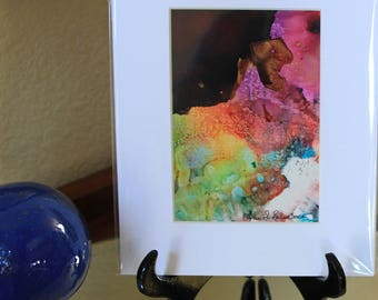 Matted Painting Unique Gift - Fine Art Gift Card - Fine Art Gift Card for All Occasions - Alcohol Ink Painting - Gift and Fine Art - Ink Art