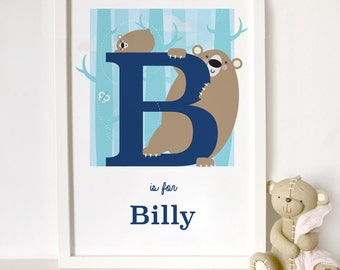 personalised bear print, animal alphabet print, letter B name print, nursery print, gift for baby, gift for animal lover, mum and baby