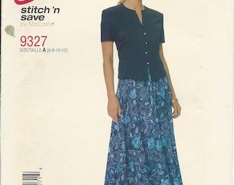 McCalls 9327, Misses Top, Bias Skirt, Misses Blouse, Sewing Pattern, Vintage Pattern, Fitted Top, Blouse, Woman, Retro Size 6-8-10-12, Uncut
