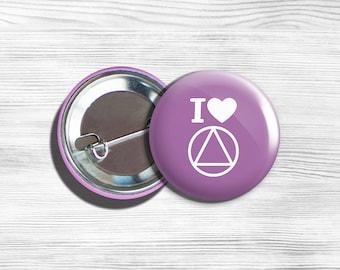 "Alcoholics Anonymous Inspirational ""I Love AA"" Pinback Button Pin Purple V 1.75"""
