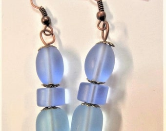 Handcrafted blue frosted bead earrings  (S46)