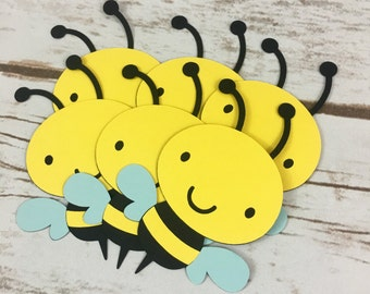 12 Bumble Bee Die Cuts, DIY Bumble Bee, Gift Tags, Toppers
