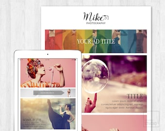 Photography E-mail Newsletter Template PSD//Fashion Portfolio//Digital Design//Instant Download // Editable