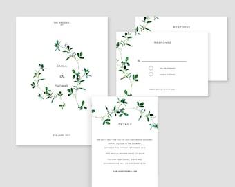 Flower  Wedding Invitation, Wedding Printable, Invitation Templates, Simple Wedding Template, Digital Invitation DIY #23