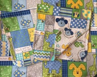 Animals Reversible Baby Blanket & Burp Cloth Set