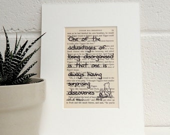 Vintage Winnie The Pooh Book Page Quote Print, A A Milne Literary Print, Amusing Wall Decor, Book Lover Gift, Daughter Gift, Best Friend