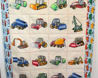 "Machine Embroidered Baby Quilt, Crib Quilt, Baby Blanket, Handmade Baby Quilt - ""Under Construction"" - approx 38"" x 46"""