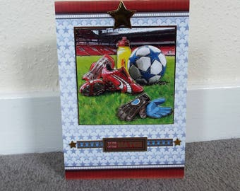 Male Birthday Card - Football/Soccer - luxury personalised unique quality special bespoke UK - Dad/Son/Uncle/Brother/Nephew