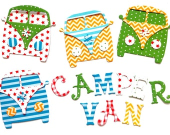 VW Camper Van Cardstock Die Cuts, Embellishments for Scrapbooking and Card Making, Set of 4 Ready Assembled