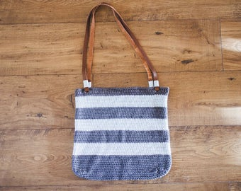 Large Crochet Bag with Leather Straps--Navy/Light Blue