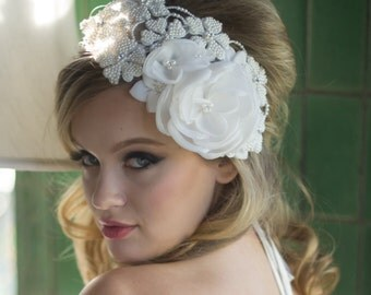 JULIANA - Ivory Fabric Flower & Pearl Hair Piece