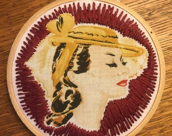 """Vintage Woman Red-Toned 4x4"""" Embroidery Hoop"""
