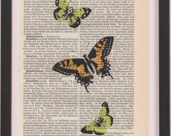 dictionary art print - butterflies print, old dictionary print, dictionary print, screen printed, dictionary page Wall Decor