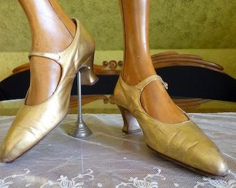 1923 Antique Evening Shoes, edwardian shoes, Antike Schuhe, gold-coloured, Flapper shoes, 1920s, shoes 20'