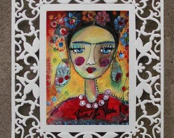 Framed Mixed Media Print - Gerahmter Kunstdruck - Frida Kahlo 29