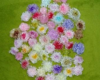 50pcs mixed color organza ribbon flowers DIY craft supply