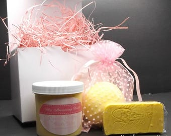 Sampler Box, Scented Soap, Bath Salts and Bath Bomb