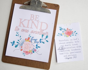 Be Kind Print Kit, Mini-Encouragement Cards, Coloring Page