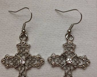 Victorian Look Cross Earrings