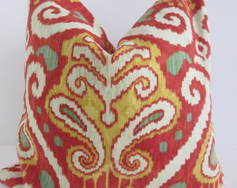 Red Tomato Pillow Cover, Yellow Red Pillow Cover, Robert Allen Fabric, Yellow Ivory Pillow Cover, Pillow Cover, Designer Pillow