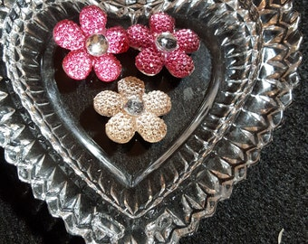 """B53 - Pink/Red/Yellow Flower 'Bling"""" Buttons - Set of 3"""