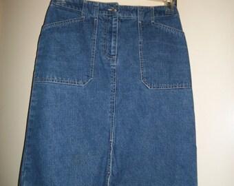 Vintage 90s Medium Wash Denim Skirt Size 4