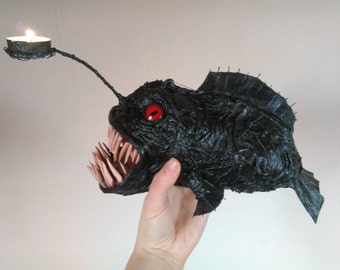 Anglerfish papermache sculpture, deepsea fish creature, monster