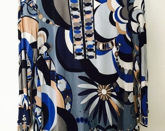 Original 1990's Emilio Pucci psychadelic print. Shades of blue. Size 42
