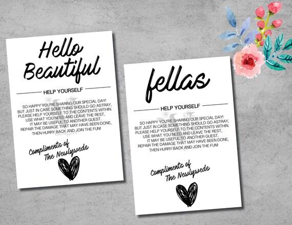 Wedding Bathroom Signs Printable Digital