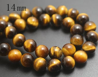 14mm Natural AA Yellow Tigereye Beads,Smooth and Round Stone Beads,15 inches one starand