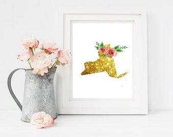 NY gold art, new york floral art, ny art print, ny printable, ny flower art, ny download, digital file, instant file, ny wall decor