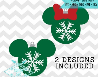 Mickey Minnie Ornaments - SVG, Disney, Digital file, Silhouette Studio, DXF PNG Cricut Cutting Vinyl, Christmas, Snowflakes, Snow, Cute