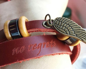 Genuine leather bracelet personalized with laser engraving
