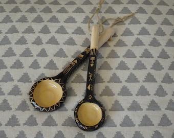 Ceramic Spoons, Set of 2, Handmade, Unique, One of a kind, Tribal, Boho