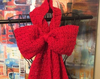 sale! Crochet bow scarf, bow scarf, holiday scarf, crochet scarf, crochet office scarf, preppy