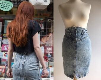 Vintage 1990s High Wasted Acid Wash Denim Pencil Skirt - UK Size 8/US Size 4
