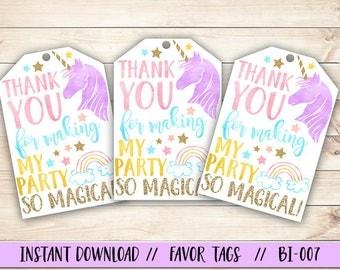 Unicorn Thank You Tag, Unicorn Party Favor Tag, Unicorn Favor Tag, Unicorn Birthday Favor Tag, Magical Birthday Favor Tag, Rainbow Favor Tag