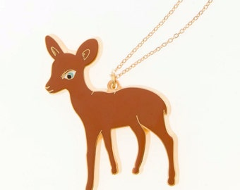 Big Bambi Enamel Necklace