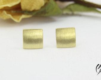 Earrings gold 585 /-, mini square, dash Matt
