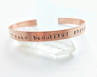Make beautiful things, even if nobody cares / Personalized gift / Inspire / Hand stamped quote bracelet / Makers jewelry
