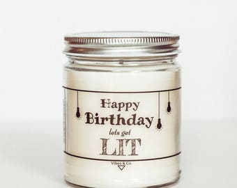 Scented Personalized Birthday Candle, Soy Candle, Birthday Greeting Candle, Jar Candle, Candle Handmade, Birthday Candle, Candle Gift