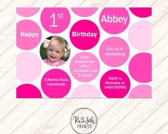 Pink Polka Dot First Birthday Invitation, Polka Dot 1st Birthday Invitation, Polka Dots Birthday Invitation, Polka Dot Birthday Printable