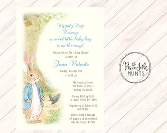 Rabbit Baby Shower Invitation, Bunny Baby Shower Invite, Rabbit Baby Invitation, Baby Bunny Shower, Neutral Baby Shower Invite