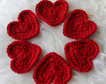 BIG Crochet HEARTS RED set of 6