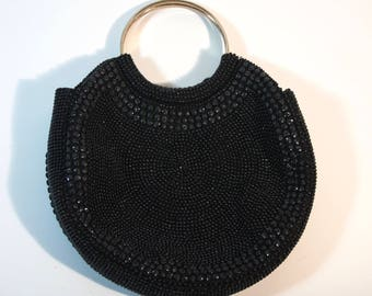 Round beaded evening bag