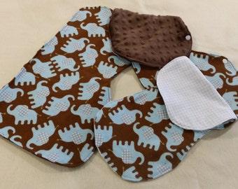 Baby Boy Burpee Bib, Burp Cloth Set