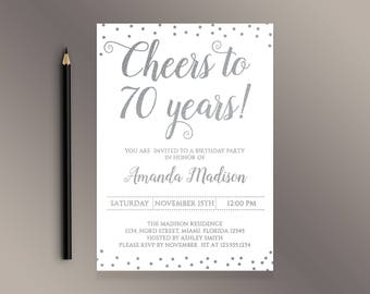 Cheers to 70 Years Birthday Party invitation, White and Silver confetti 70th Birthday invites, Adult Birthday Invite, Digital Printable Bday