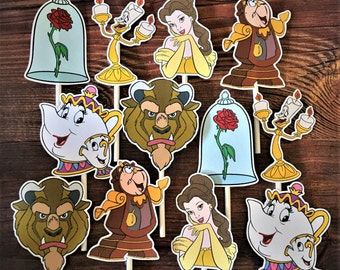 BEAUTY and the BEAST Cupcake Toppers / Cake Toppers / Die Cuts / Birthday Party / Decorations / Cake Pops / Supplies / Decor / Scrapbook