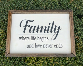 Family: Where Life Begins and Love Never Ends - Wood Sign